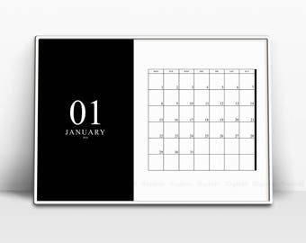 Black And White Printable Monthly Calendar 2018, Minimalist 12 Month Calendars Prints, Ascetic Horizontal Affiche Pages, Instant Download.