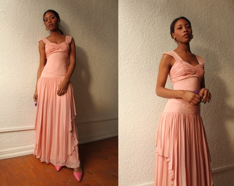 Vintage 1930s Light Pink Chiffon Overlay Drop Waist Dress with Ruched Bust size Extra Small Small