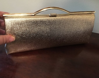 1960s Gold Lame Evening Clutch Purse