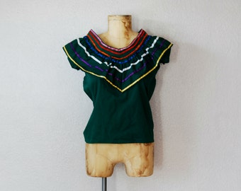 vintage ETHNIC forest MEXICAN green blouse