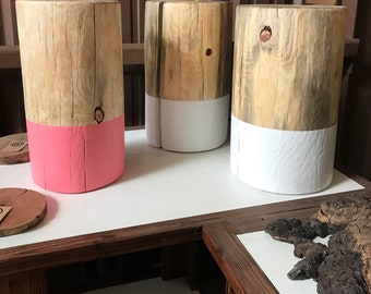 White Dipped Stump Table - set of three a custom request