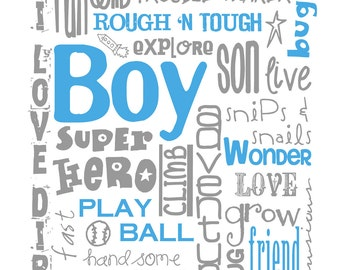 All Boy Subway Art for Nursery or Bedroom INSTANT DOWNLOAD set of Eight 8X10/16x20 Digital Printable JPEG Files Multiple Colors