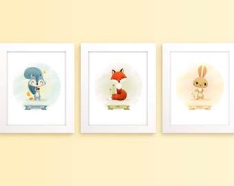 Woodland animal art - Baby room decor, nursery wall art, set of prints, woodland art, rabbit print, fox print, squirrel print, baby art