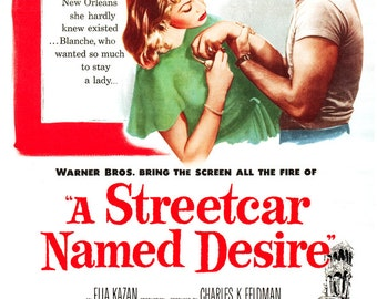 "A Streetcar Named Desire - Classic Movie Poster Print  - 13""x19"" or 24""x36"" - Home theater Media room decor - Marlon Brando - Vivien Leigh"