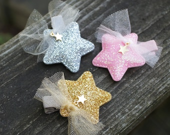 Adorable Glitter Star Hair Pin - for little princess, girls gift