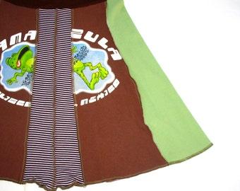 Road Kill Froggie Tee Skirt women Med upcycled Mexico cantina tshirt skirt mocha brown stripe OOAK upcycled clothing Spring Break Señor Frog