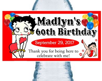 20 BETTY BOOP Birthday party favors water bottle labels ~ glossy ~ waterproof ink ~ Free Shipping
