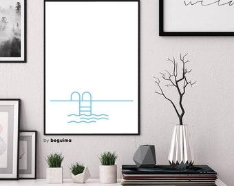 Swimming Pool, Summer Print, Pool Ladder, Printable Wall Art, Pool Steps, Large Poster, Blue & White, Minimalist, Minimal, Digital Download