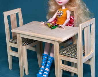 """Table 2 Chairs set dollhouse Furniture wooden 1:6 play-scale 12"""" Barbie dolls Momoko Blythe accessories role-playing games cool girl Gift"""