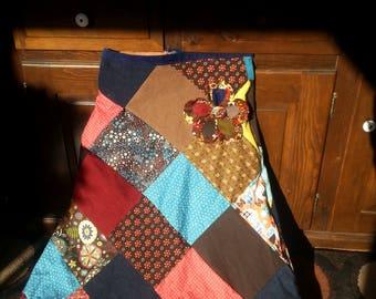 Hippie patchwork handmade skirt