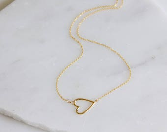 Mother's Day Gift, Heart Necklace, Sideways Heart Necklace