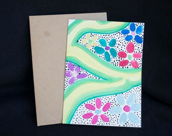 Swirled Flower Pattern Watercolor Painted Greeting Card Unique One of a Kind Fun Colorful Style Birthday Cards Get Well Soon Art Artwork