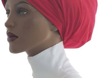 Huggee Locks Beanie™ Beanie Cap Hat Red Jersey Knit Rasta locs Tam Rastafari Dreadie Handmade