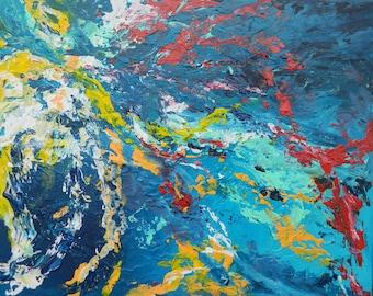 abstract painting palette knife original impasto art decor art wall paint   acryl living room zuzana ridzonova