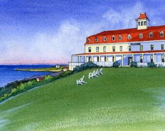 Block Island Watercolor Art Print, Spring House Inn 8x10 Landscape Wall Art