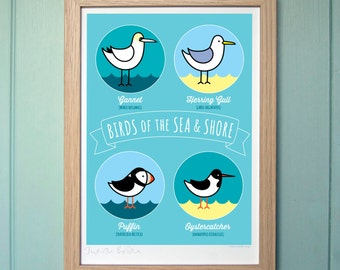 A4 Digital Print - Birds of the Sea & Shore