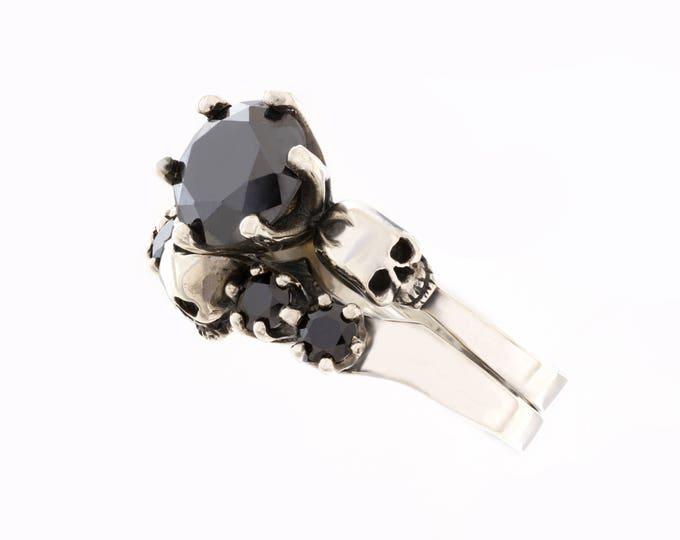 Skull Wedding Ring Set, Skull Anniversary Ring, Dark Bridal Set, Goth Wedding Set, Rock n Roll Engagement Ring Set