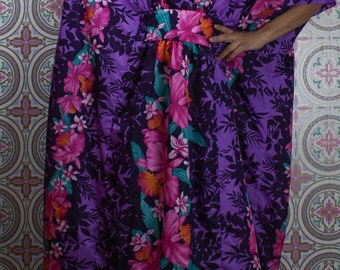80's Hawaiian Caftan Dress, Purple Tropical Floral Maxi, Oversized One Size Fits All