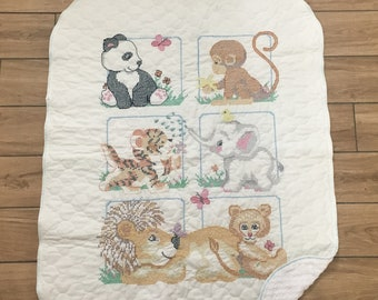 Zoo Babies Cross Stitch Baby Quilt with Minky Backing
