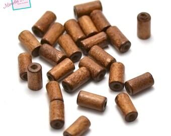 "100 beads, Brown wood ""tube 12 x 6 mm"""