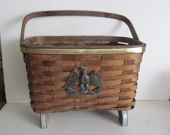 Large Magazine Basket,Fireside Basket,Storage Basket,Footed Basket,Colonial Primitive Decor Wicker Basket with eagle Country Farmhouse Decor