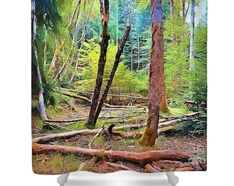 "Shower Curtain ""Forest in Gold"""