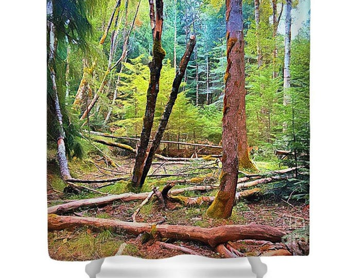 """Shower Curtain """"Forest in Gold"""""""