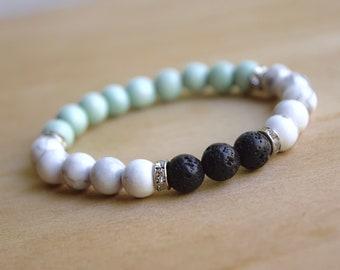White Howlite Bracelet / calming bracelets, spiritual mom gift, spiritual woman gift, new age spirituality tool, group 2, group 9