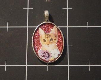 Tabby Kitten with Tiny Blossoms Pendant, 50% goes to the current focus charity