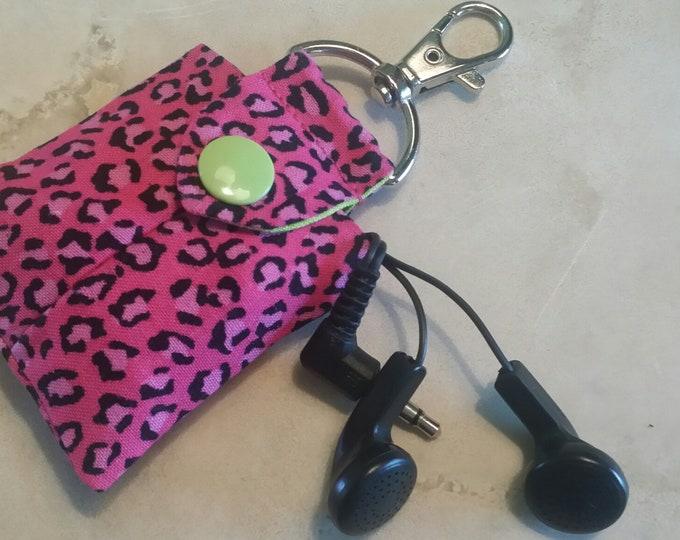 Earbud Pouch/Earbud Case-Hot Pink n' Leopard
