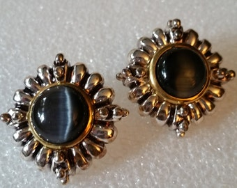 Reduced. Tiger eye silver and gold tone earrings