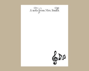 Band teacher notepad, music teacher notepad, Music notes, teacher gift