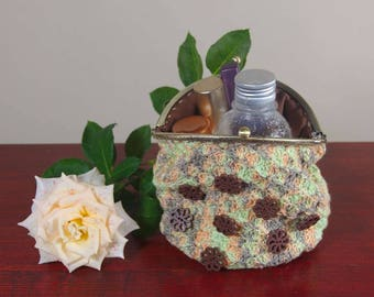 Crochet cosmetic bag, makeup purse, art bag, toiletry storage