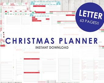 LETTER 8.5 x 11 CHRISTMAS Planner Holiday Planner Printable - 63 pages - Budget, Party Planner, Christmas Dinner, Letter to Santa,Wishlist