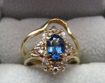 Ladies 1.75 ctw Genuine Corundum Sapphire & Diamond Engagement Ring and Wedding Band