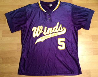 XL vintage Western Illinois University Westerwinds softball jersey purple gold white #5 Winds women's