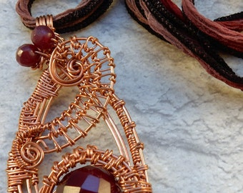 Bright and Airy copper wire wrapped pendant with garnet color bead