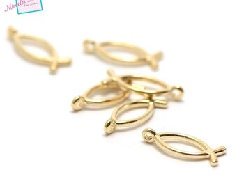 """20 charms """"fish"""" 20 x 8 mm Golden 001"""