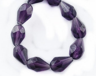 14 Inch Strand Of Transparent Teardrop Faceted Glass Beads 12x8mm (29 beads)-8318
