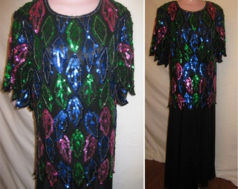 Black blouse with colorful sequins #12549