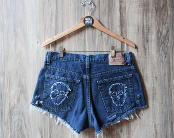 Levi high waist vintage denim shorts Size 12 | Ripped distressed shorts | Embroidered skull patch | Vintage festival hipster dark wash |
