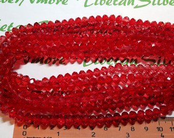 1 strand of 16 inches of 8x6mm Faceted Rondelle Cranberry Red Chinese Crystal
