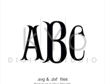 Fishtail Monogram font svg png cut files, Fishtail alphabet letters svg, Royal font svg files for Cricut Explore Maker Silhouette Cameo