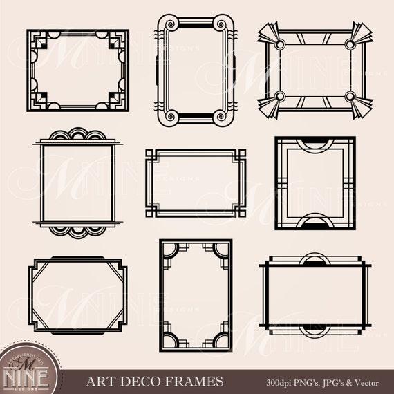 ART DECO marco Clip Art: cuadros de imágenes prediseñadas de