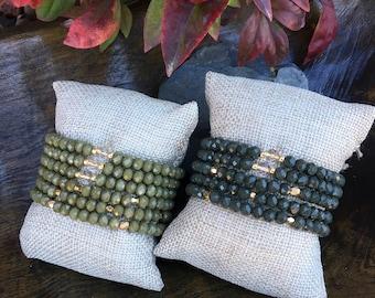 Green crystal beaded bracelets