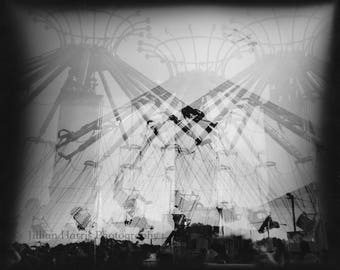 "Multiple Exposure Black and White Silver Gelatin Print - ""Criss Cross"""