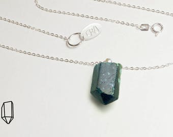 Apatite necklace, raw blue apatite crystal necklace, natural raw apatite crystal, blue apatite pendant,  16 inch sterling silver chain