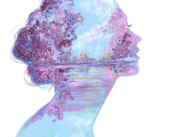Lilac Dreams, print from original mixed media fashion illustration by Jessica Durrant