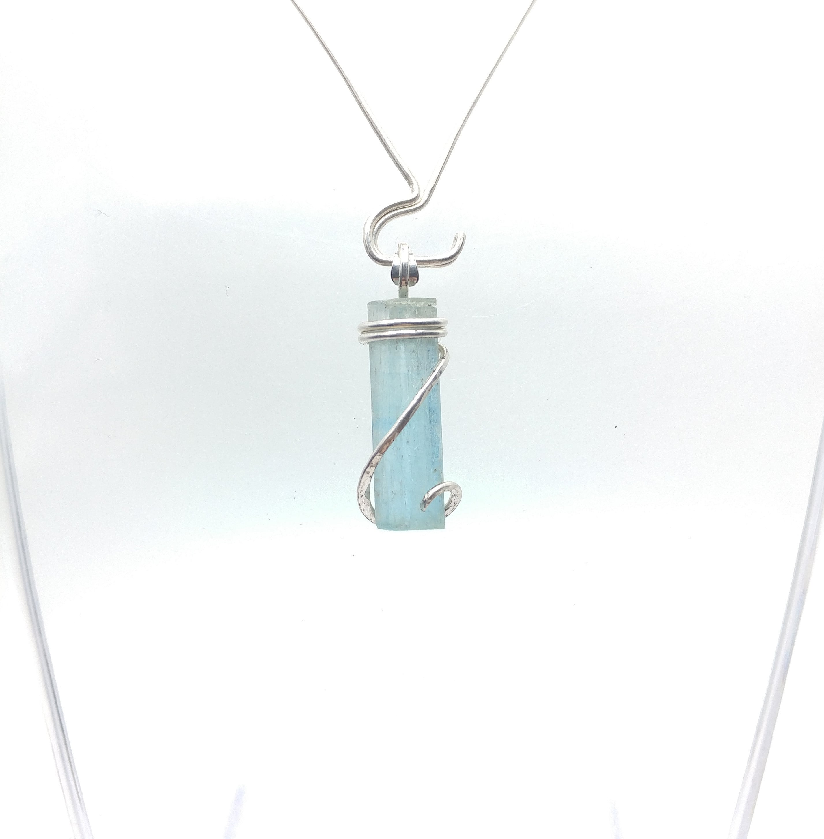 pin rutile crystal raw aquamarine sterling silver pendant with
