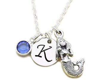 Mermaid Initial Birthstone Necklace, Mermaid Necklace, Mermaid Charm Necklace, Mermaid Goddess Necklace with Swarovski Crystal Birthstone